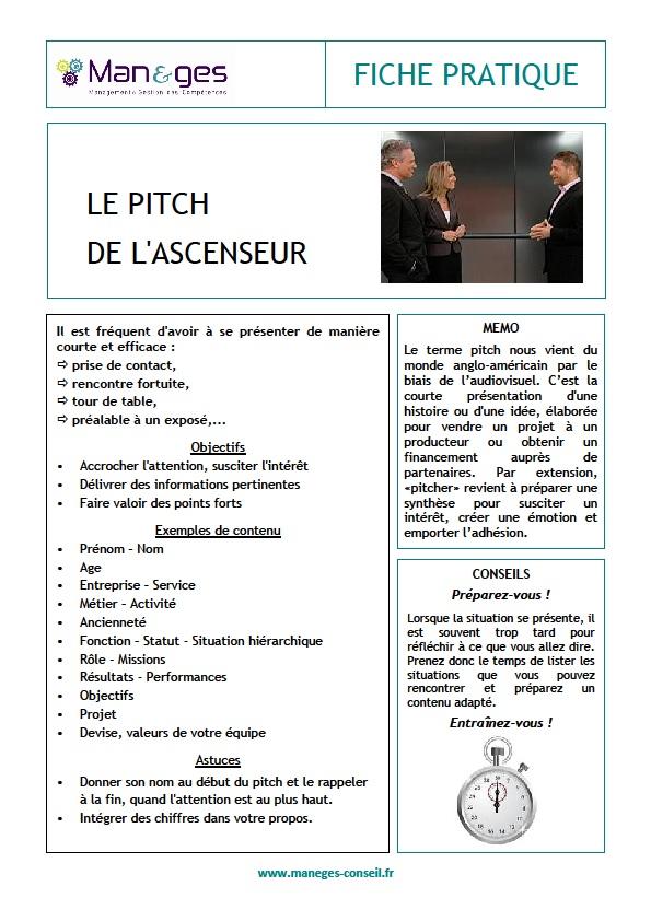 Fiche pratique Manèges Conseil – Le pitch de l'ascenseur